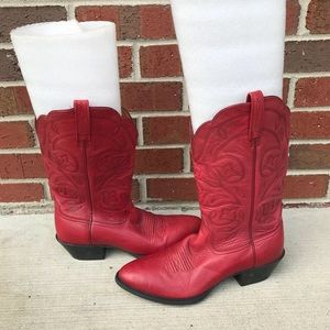 Ariat Heritage Red Leather Cowboy Boots 8 B